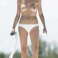 Sharon Stone – topless at the beach, 2005