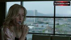 2. Gillian Anderson in Sexy Black Bra – The Fall