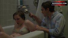Lena Dunham Pokies Through Wet Bra – Girls