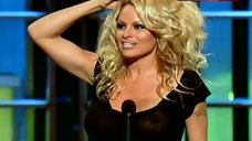 Pamela Anderson Nude Tits Under See Through Top – Comedy Central Roast Of Pam Anderson