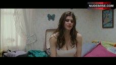 7. Alexandra Daddario Pokies Through White Top – Bereavement