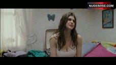 9. Alexandra Daddario Pokies Through White Top – Bereavement