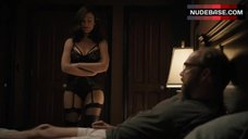 4. Maggie Siff Shows Sexy Black Lingerie – Billions
